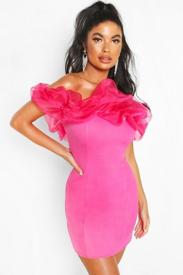 Bright pink Petite Organza Off Shoulder Bodycon Dress