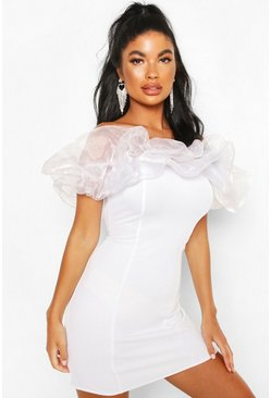 White Petite Organza Off Shoulder Bodycon Dress