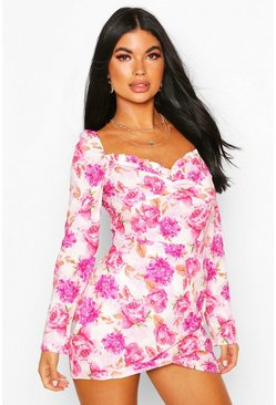 Pink Petite Floral Frill Edge Mini Dress