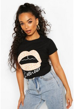 Black Petite Leopard Lips Slogan T-Shirt