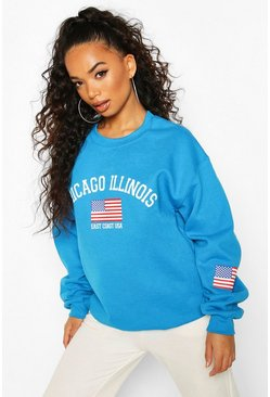 Blue Petite 'Chicago Illinois' Oversized Sweat