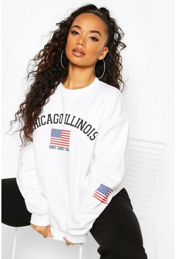 White Petite 'Chicago Illinois' Oversized Sweat
