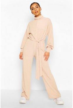 Stone Petite High Neck Tie Detail Wide Leg Jumpsuit
