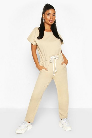 Stone Petite Drawstring Sweat Jumpsuit