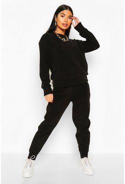 Black Petite Fleece Sweat & Jogger Lounge Set