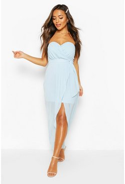 Dusty blue Petite Occasion Bandeau Pleated Wrap Maxi