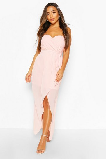 Nude Petite Occasion Bandeau Pleated Wrap Maxi