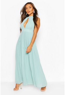 Sage Petite Occasion Pleated Panel Detail Maxi Dress