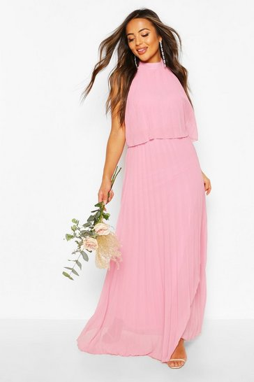 Blush Petite Occasion Pleated Double Layer Maxi Dress