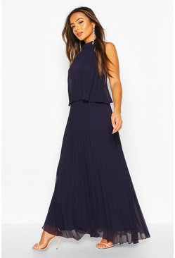 Navy Petite Occasion Pleated Double Layer Maxi Dress