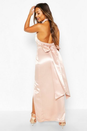 Soft pink Petite Occasion Satin High Neck Bow Back Maxi