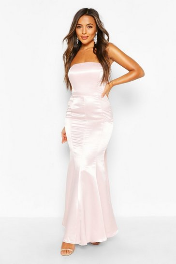 Soft pink Petite Occasion Satin Bow Back Maxi Dress