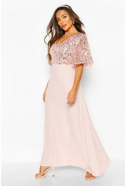 Blush Petite Occasion Sequin Angel Sleeve Maxi Dress