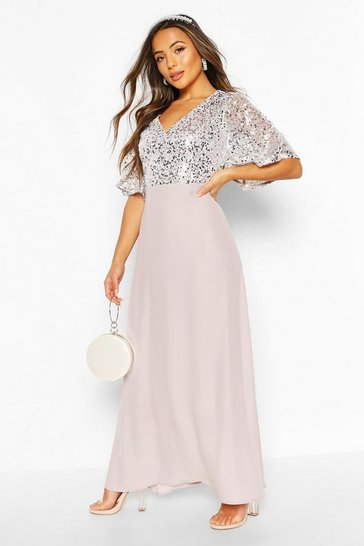 Silver Petite Occasion Sequin Angel Sleeve Maxi Dress