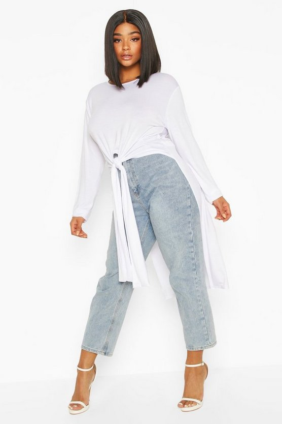 White Plus Tie Front Maxi T-Shirt