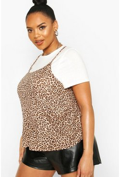 White Plus Leopard 2in1 Cami Top