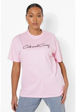 Pink Plus Cute And Curvy Slogan T-shirt