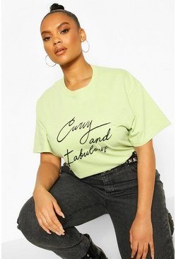 Sage Plus Curvy And Fabulous Slogan T-Shirt