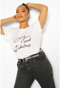 PlT-shirt à slogan Curvy And Fabulous Plus, Blanc