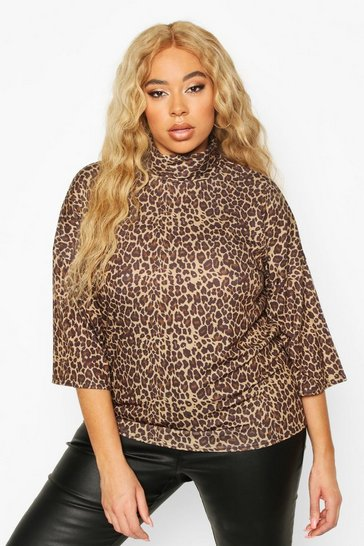 Brown Plus Leopard 3/4 Sleeve Boxy Fit T-shirt