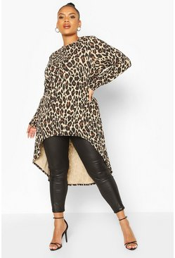 Top svasato maxi Plus con stampa leopardata, Marrone