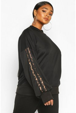 Black Plus Leopard Stripe Oversized Sweat