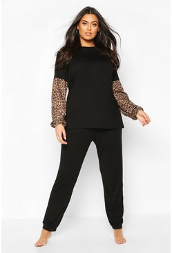 Black Plus Leopard Contrast Lounge Set