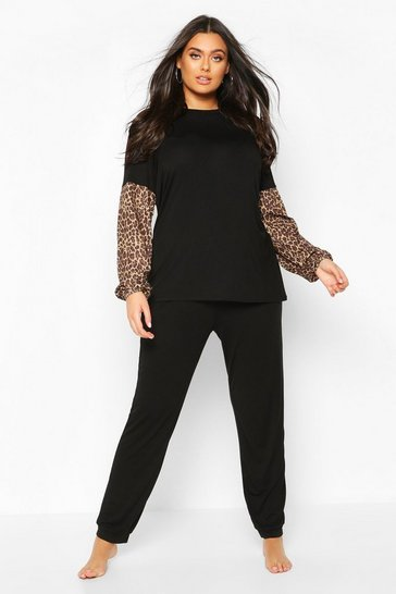Plus Leopard Contrast Lounge Set