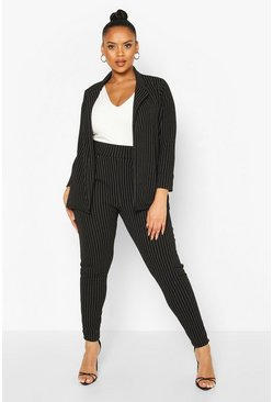 Black Plus Pinstripe Tailored Blazer Trouser Co-ord
