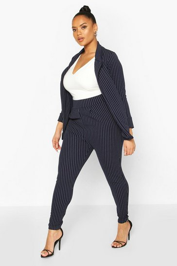 Navy Plus Pinstripe Tailored Blazer Trouser Co-ord
