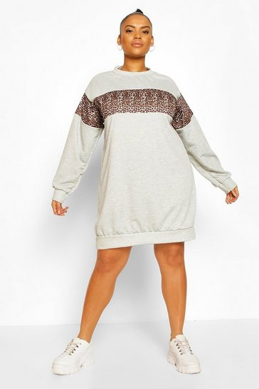 Grey Plus Leopard Oversized Sweat Dress