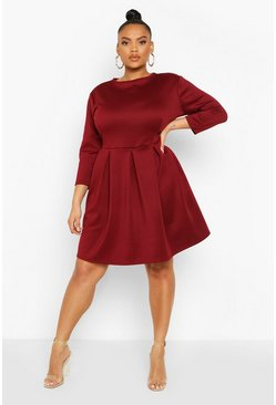 Berry Plus Scuba Full Skater Dress