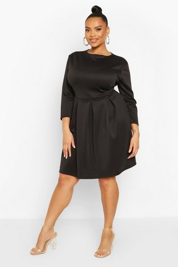 Black Plus Scuba Full Skater Dress