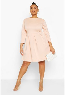 Blush Plus Scuba Full Skater Dress