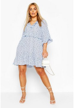 Baby blue Plus Polka Dot Kimono Sleeve Smock Dress