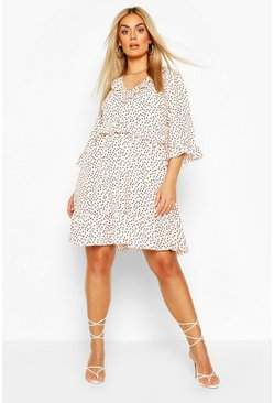 Blush Plus Polka Dot Kimono Sleeve Smock Dress