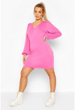 Pink Plus V-Neck Ruffle Sleeve Sweat Dress