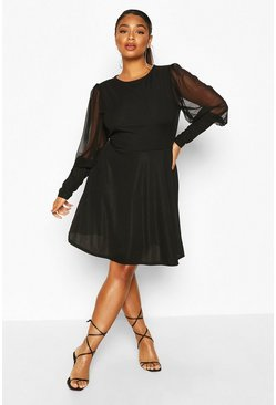 Black Plus Organza Balloon Sleeve Skater Dress