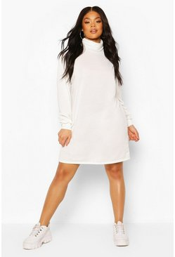 Cream Plus Roll Neck Oversized Sweat Dress