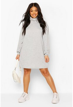 Plus Oversized Sweatkleid mit Rollkragen, Grau