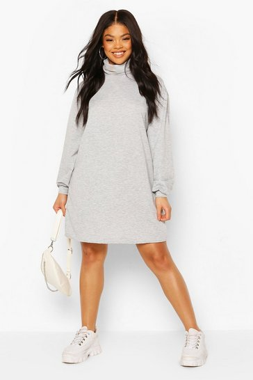 Grey Plus Roll Neck Oversized Sweat Dress