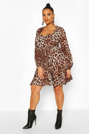 Brown Plus Leopard Long Sleeve Belted Skater Dress