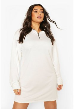 Cream Plus Zip Up Oversized Sweat Dress