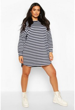 Navy Plus Stripe Balloon Sleeve Sweat Dress