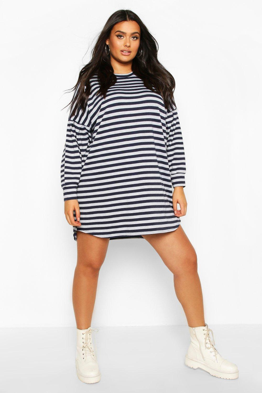 Plus Stripe Balloon Sleeve Sweat Dress 6