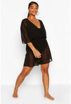 Black Plus Dobby Beach Playsuit