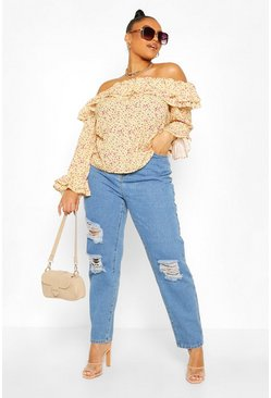 Lemon Plus Bardot Ditsy Floral Ruffle Top