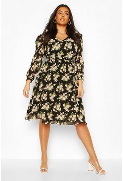 Black Plus Floral Ruffle Puff Sleeve V-Neck Midi Dress