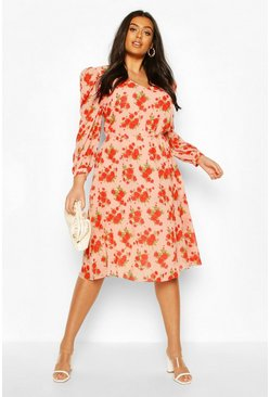 Plus Floral Ruffle Puff Sleeve V-Neck Midi Dress, Pink