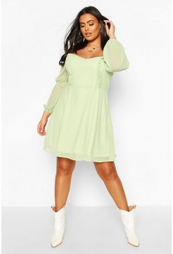 Plus Dobby Mesh Square Neck Skater Dress , Sage